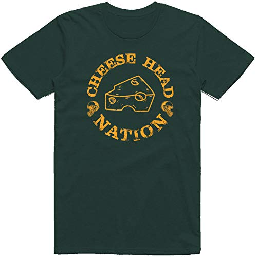 INKpressionists Green Bay Football Fans Cheese Head Nation Classic T-Shirt (3X, Forest Green)