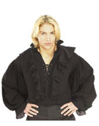 Pirate Costume Black Shirt (Rubie's Costume Pirates of the Seven Seas Black Linen Pirate Shirt - Adult Standard Costume)