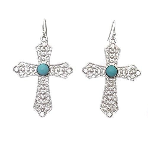 Simulated Turquoise Blue Stone Rhinestone Silver Tone Cross Dangle Drop Earrings