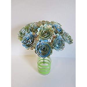 "Scalloped World Atlas Roses, 1.5"" Paper Flowers on Stems, One Dozen, Travel Theme Birthday Party Decor, Wedding Decor, Bridal Shower Centerpiece, Map Flowers 2"