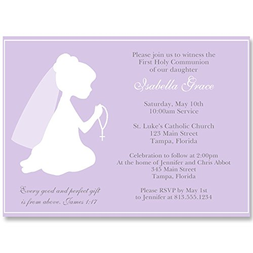 Communion Invitations, Confirmation, First Communion, Holy, Baptism, Religious, Cross, Purple, Girls, White, Girls, Kneeling, Praying Hands, Rosary, 10 Printed Invites with White Envelopes, Girl