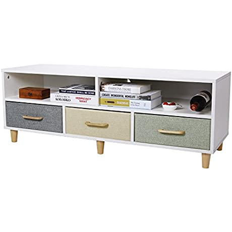 Lifewit Wood TV Stand Contemporary Entertainment Center Cabinet With 3 Drawers And 2 Shelves White