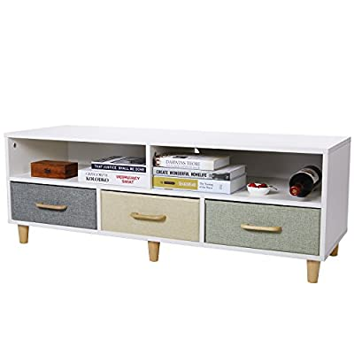 Lifewit Wood TV Stand TV Storage Console Contemporary Entertainment Unit Center Cabinet with 3 Fabric Drawers and 2 Shelves, White - DURABLE CONSTRUCTION: The TV stand is constructed out of damp-proof, strong, and hard-wearing chipboard for long lasting performance. Implemented with six solid wood legs to ensure maximum stability. FOLDABLE DRAWERS: Constructed of thickened hardboard panels wrapped with premium linen imitation cloth to ensure wear resistance. The foldable cloth drawers allow for easy assembly, and they fold flat when not in use for convenient storage. The soft fabric prevents the drawers from slamming onto fingers to avoid injuries. LARGE CAPACITY: Features 3 spacious storage bins with wooden handles to allow for storing books, children's toys, cloth, etc. 2 open shelves provide room for cable box, DVD player, or gaming components. - tv-stands, living-room-furniture, living-room - 41NFFmV7xEL. SS400  -