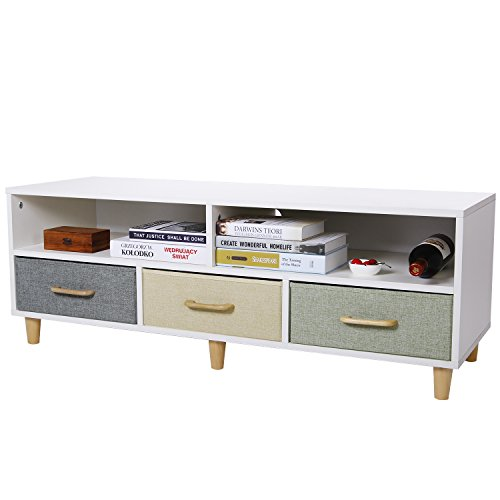 - Lifewit Wood TV Stand TV Storage Console Contemporary Entertainment Unit Center Cabinet with 3 Fabric Drawers and 2 Shelves, White
