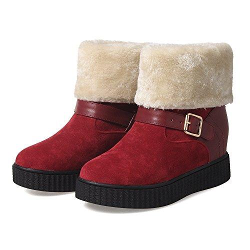 Carolbar Dames Faux Fur Gesp Warm Comfort Verborgen Hak Snowboots Diep Rood