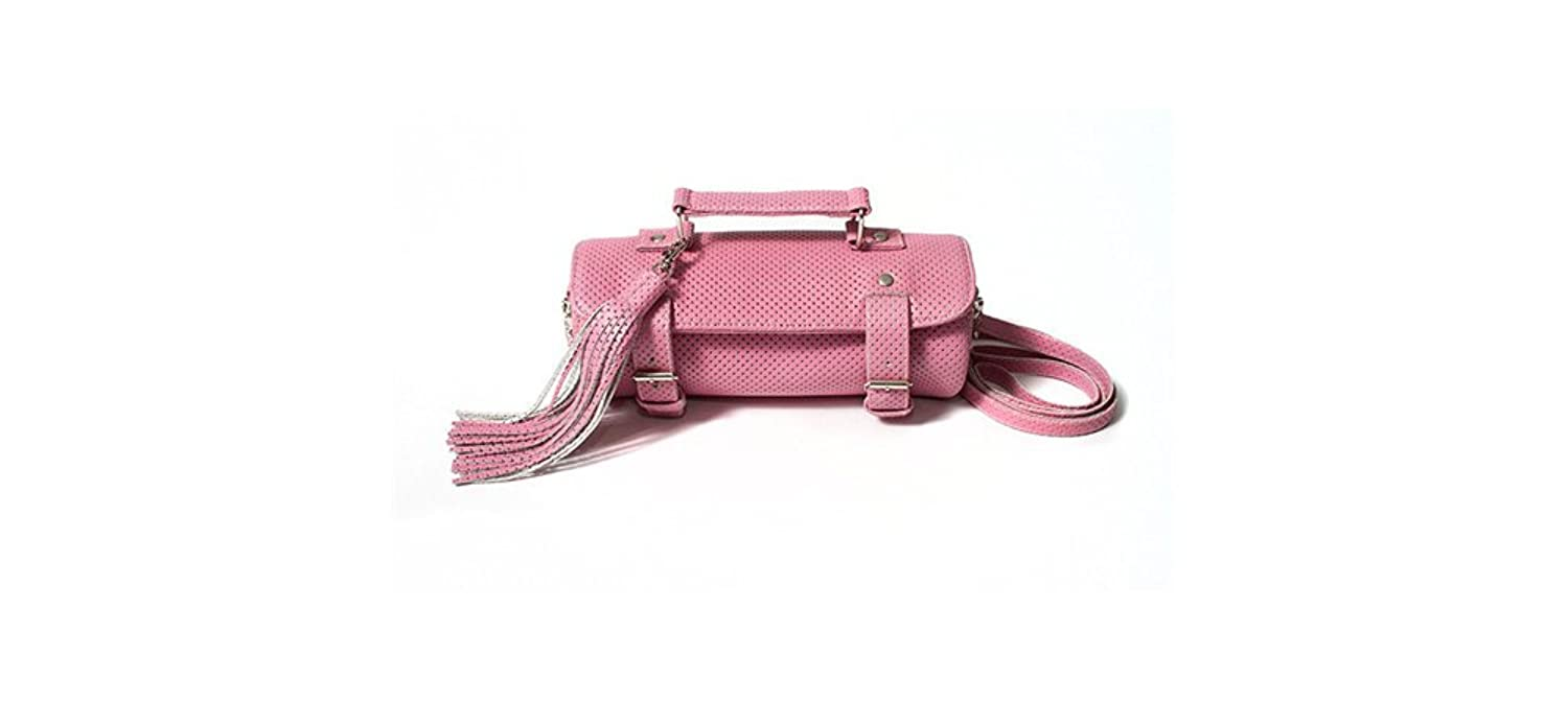 The Sway Pin Dot Buckle Bag in Pink (Recycled Leather - Eco Friendly)