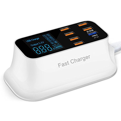 (Fast Charging Station Multiple USB Charger,40W/8A 8 Port Desktop Charger Hub with 1 Type C Port and 1 Fast Charge Port, Led Display Power Adapter for Huawei, iPhone, Samsung, LG and More )