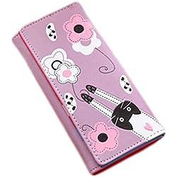 GBDDD Billetera Estampado de Flores Nueva Moda sobre Mujeres Monedero Gato Cartera de Dibujos Animados Larga Tarjeta Creativa Femenina Monedero Monederos Niñas