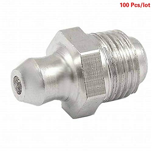 Maslin 100 Pcs BSP 1/8'' 1/4'' 3/8'' 1/16'' Male Thread Straight Iron Grease Zerk Fittings Nipple Fittings Oil Nozzle Mouth for Grease Gun - (Thread Specification: 1/4'')