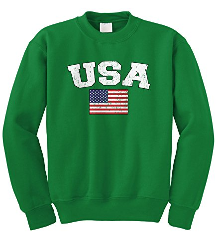 Cybertela Faded Distressed USA Flag Crewneck Sweatshirt (Kelly Green, 2X-Large) - Green Distressed Crewneck