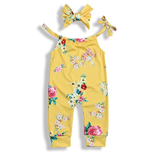 - YOUNGER TREE Toddler Infant Baby Girl Dress Floral Ruffle Flare Half Sleeve Yellow Skirt Party Dresses Clothes (6-12 Months, Floral Yellow Romper)