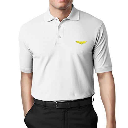 Medium White Embroidered T-shirt (Hall Avenue Apparel Batman Polo Shirt w/Handmade Embroidered Logo (Medium, White w/Yellow Logo))