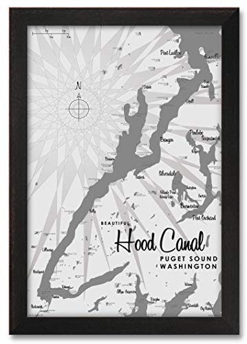Hood Canal WA Gray Professionally Framed Wall Decor Lakeboun