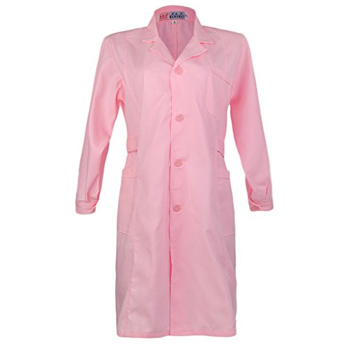 Hygiene Coat - Jili Online White Pink Lab Coat Hygiene Food Industry Warehouse Doctors Laboratory Coat - Long Sleeve-Thick-Pink, S