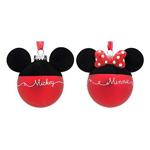 Disney Blown-Glass Christmas Holiday Ball Ornaments - Mickey & Minnie Mouse Silhouettes & Signatures, Set of 2
