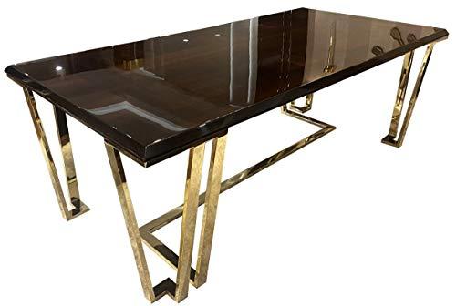 Casa Padrino Mesa de Comedor Art Deco marron Oscuro/Oro 220 x 110 x A. 77 cm - Noble Mesa de Comedor con Placa de Vidrio - Muebles de Comedor Art