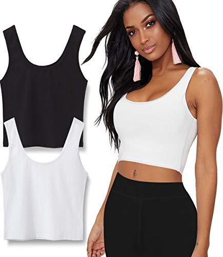 (TELALEO 2 Pack Crop Tops for Women or Teens, Basic Solid Active Sleeveless Crop Tank Tops for Yoga, Street and Home-Black/White M)