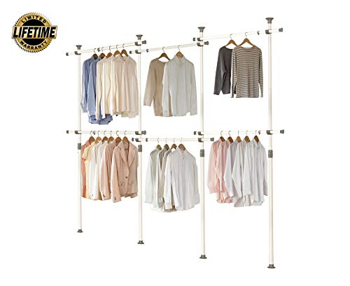 PRINCE HANGER PHUS-0072, 1-Touch Triple 2-Tier Adjustable, Heavy Duty 38mm-Diameter Vertical Pole Clothing Rack, White