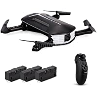 SUKEQ JJR/C H37 4CH 6 Axis Gyro Foldable Portable Headless Selfie RC Drone with 3 Batteries