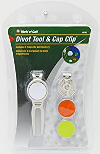 JEF World of Golf JR153 Metal Divot Golf Tool and Cap Clip with 3 Ball Markers by Golf Gifts & Gallery