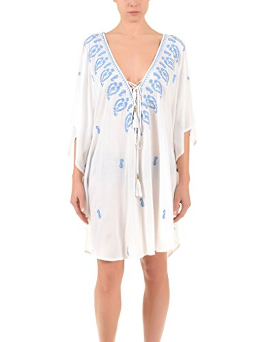 Iconique IC7-062 Women's White and Light Blue Paisley Beach Dress Poncho Kaftan