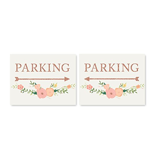 Andaz Press Wedding Party Directional Signs, Faux Rose Gold Glitter with Florals, 8.5x11-inch, Double-Sided, Parking with Big Arrow, 1-Pack, Colored Decorations