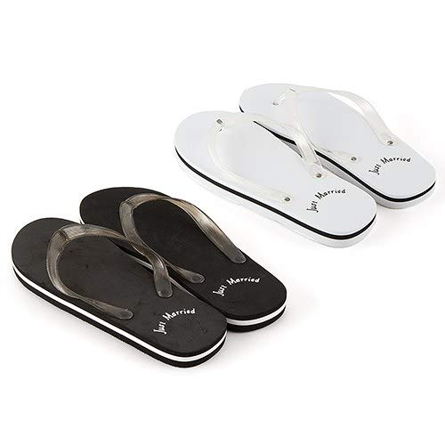 (Just Married Flip Flops for Men in Black (Large fits 11-12))