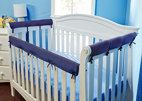 Everyday Kids Padded Baby Crib Rail Cover Set- Crib Rail Teething Guard - 3-Piece Front and Side Padded Rail Cover- with Sewn Ties for Secure Fit - Navy Soft Microfiber Polyester