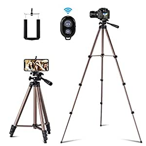 Ottertooth Flexible Tripod,127 cm Lightweight Aluminum Tripod, Video Tripod for Cellphone Camera and Gopro Devices, Come with Wireless Remote and Holder Mount for iPhone, Samsung Galaxy, etc.