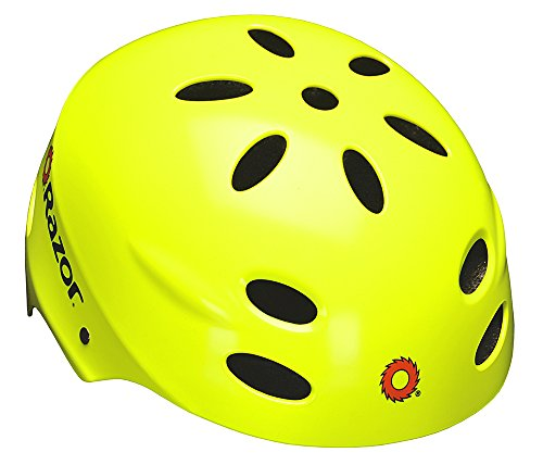 Razor V-17 Youth Multi-Sport Helmet, Neon (Black Yellow Skate Pads)