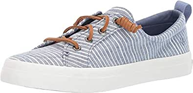 Sperry Crest Vibe Chambray Stripe Women's Court Shoes, Blue/white, 6 US