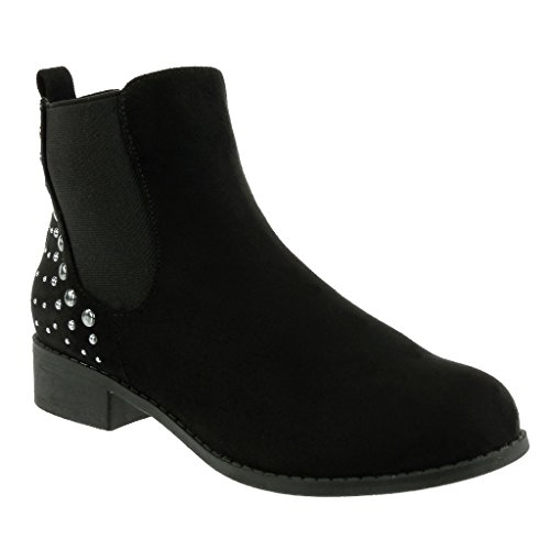 Angkorly Women's Fashion Shoes Ankle Boots - Booty - Chelsea Boots - Cavalier - Biker - Studded - Elastic Block Heel 3 CM Black