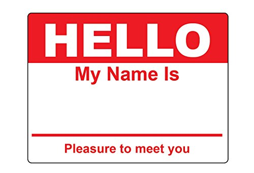 Red Hello My Name Is Name Badge Tag Labels Stickers - 1 Roll