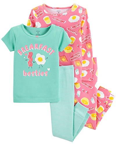 Carter's Baby & Toddler Girls' 4-Piece Snug Fit Cotton PJs (5T, Breakfast/Mint) (Best Breakfast For Infants)