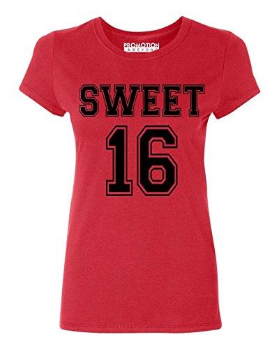 P&B Sweet 16 Birthday Women's T-Shirt, L, Red