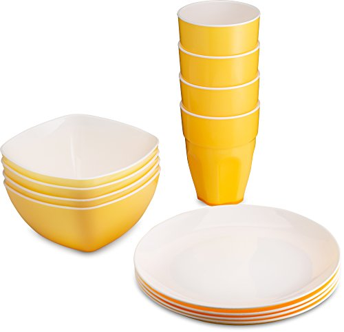 PLASTI HOME Reusable Plastic Dinnerware Set (12pcs) - Fancy Hard Plastic Plates, Bows & Cups In Yellow Festive Colors - Microwaveable & Dishwasher Safe Flatware & Tumblers For Daily Use