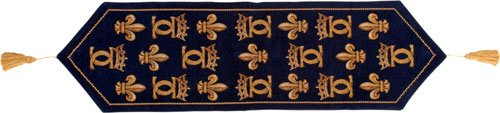 Chenonceau Bleu French Tapestry Table Runner by Charlotte Home Furnishings Inc.