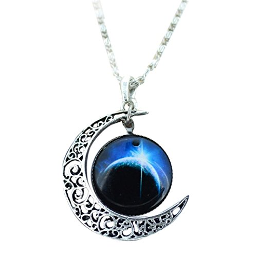 Quaanti Diomedes Fashion Necklace Women Antique Vintage Moon Time Necklace Sweater Chain Pendant Jewelry Gift Charm Necklace (blue)