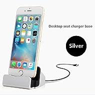Aursen Argent Foudre Chargeur station de recharge sans fil - iPhone Chargeur Dock Support de Chargeur - Base de Charge pour iPhone 5 / 5S / 6 / 6S / 7 / 7S