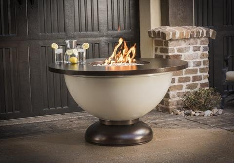 "Enchanted Bowl 48"" Round Liquid Propane Fire Pit Table, Powder Coated Steel Finish"