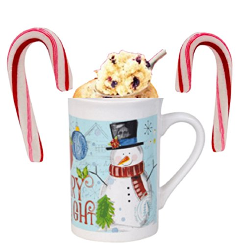 Cup Of Cake Blueberry Muffin Holiday Christmas-Mug 12 OZ Candy Canes Baking Cupcake Ready to Gift Present Hanukkah
