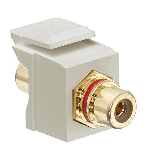 Leviton 30830-BIR QuickPort RCA Jack Connector, Red Stripe, Ivory