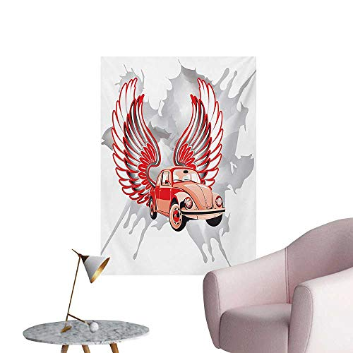 Anzhutwelve Cars Home Decor Wall Hippie Dated Beetle Car with Wings Once Sixties Freedom and Revolution Icon Boho PrintRed Grey W32 xL36 Art Poster