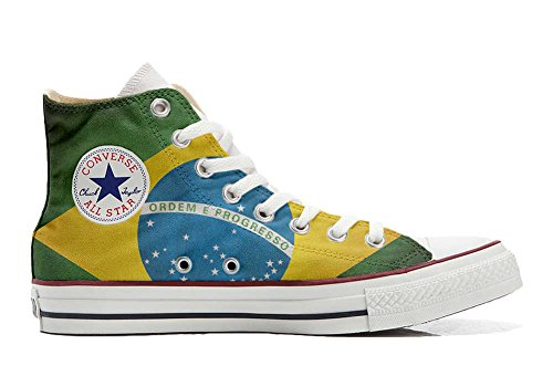 Converse PERSONALIZZATE All Star Hi Canvas, Sneaker Uomo/Donna (Prodotto Artigianale) con bandiera Brasile