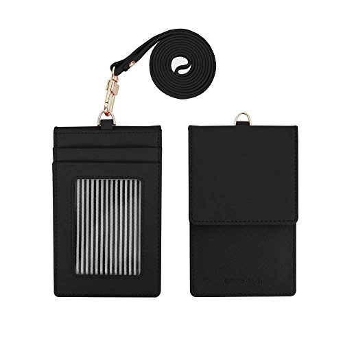 Black Leather Mirror - Genuine Leather Credit Card Holder Wallet with Mirror ID Badge Case with Neck Strap Black