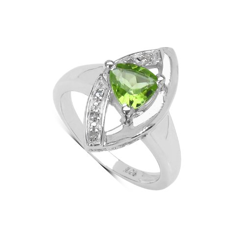 GoExclusif- Ladies Ring - 925 Sterling Silver- Genuine Peridot -