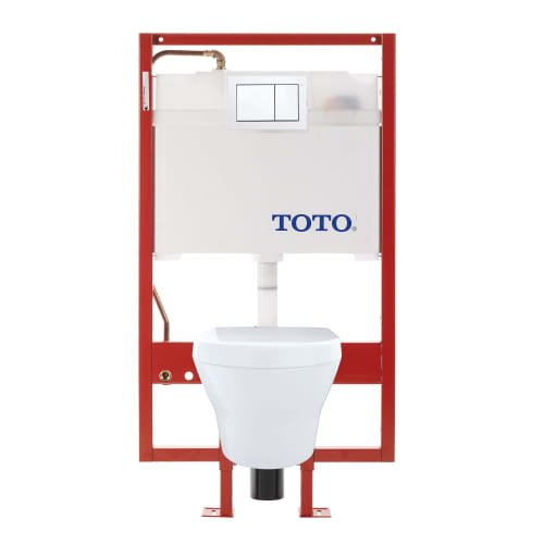 TOTO CWT437117MFG-4#01 Toilet & Duo fit MH Hung Toilet & DuoFit in-Wall Dual Flush Tank System 1.28 0.9 GPF with Copper Supply, Cotton