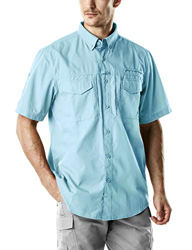CQR Men's Performance Fishing Gear UPF 50+ Short-Sleeve Breathable PFG Rip-Stop Shirt, Short Sleeve(tos401) - Sky Blue, Medium