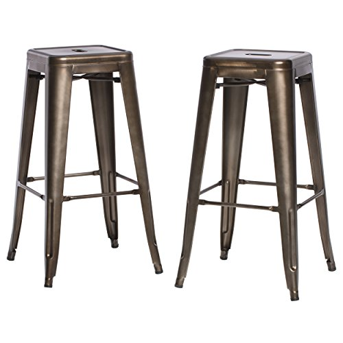 Cheap ModHaus Living Set of 2 Bronze French Bistro Tolix Style Metal Bar Stools in Glossy Powder Coated Finish – Includes (TM) Pen