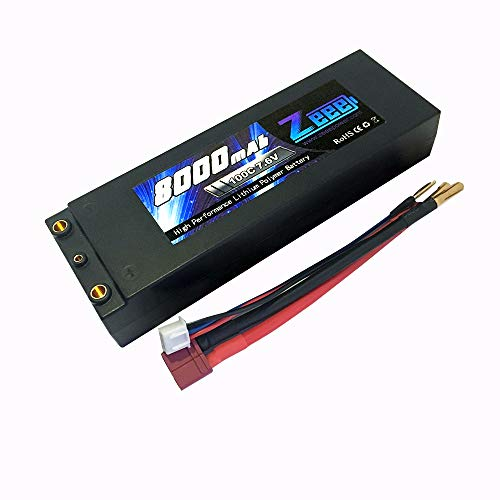 Zeee 2S Lipo Battery 7.6V 100C 8000mAh High-Voltage Hardcase RC Lipo Batteries with Dean-Style T Connector for RC Vehicles Car,Trucks,Boats (Lipo Performance High Battery)